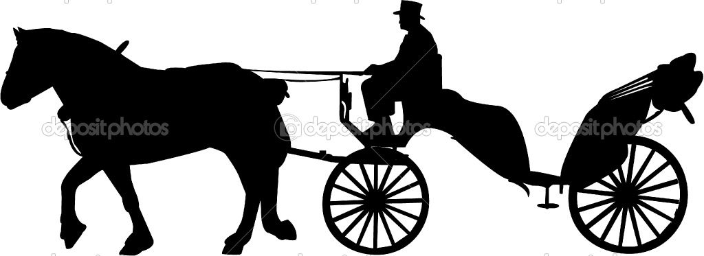 1024x373 Silhouette Horse Carriage Carriage Silhouette Stock Vector