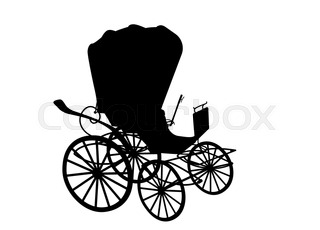 320x230 A Black Silhouette Of A Horse And Buggy Or Carriage Stock Vector