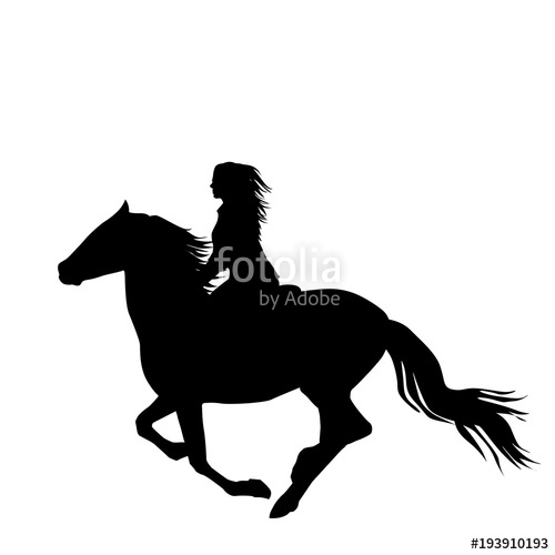 500x500 Black Silhouette Of A Woman Rider A Running Horse Stock Image