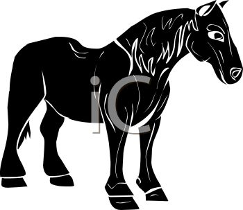 350x303 Picture Of A Silhouette Of A Horse Standing On A White Background