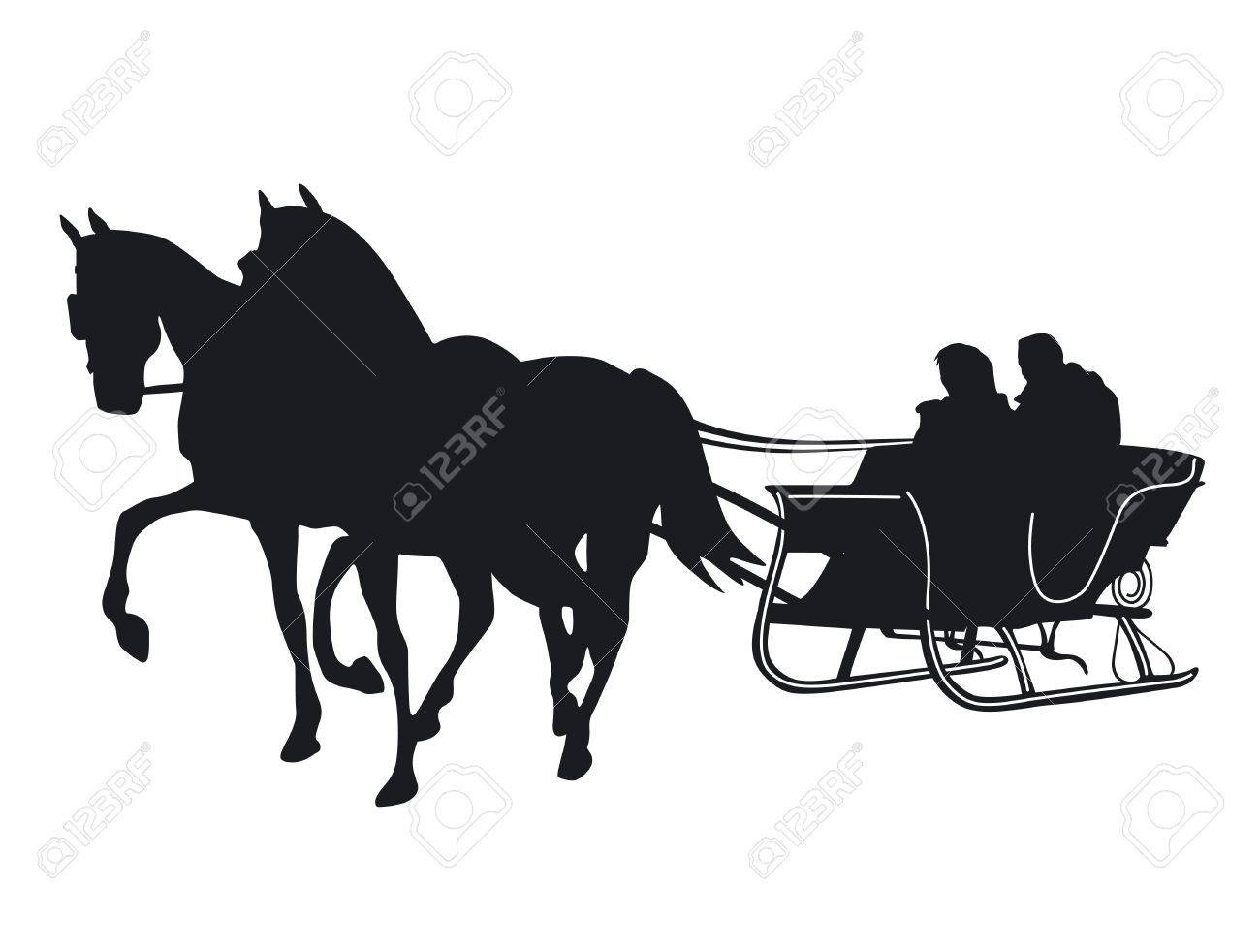 1300x982 Horse And Sleigh Silhouette Clipart