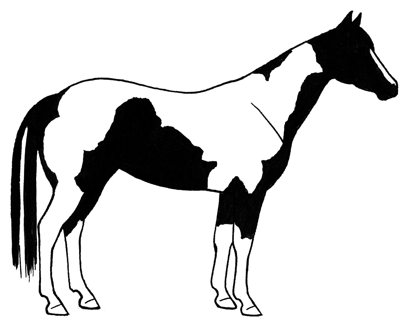 1364x1102 Paint Horse Head Silhouette
