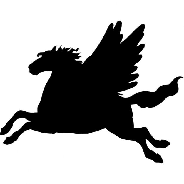 626x626 Pegasus Winged Horse Black Side View Silhouette Shape Icons Free