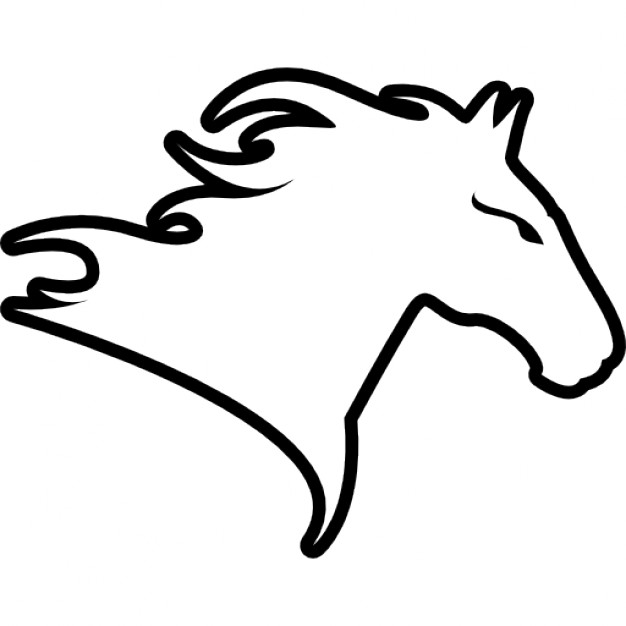 626x626 Horse Head Facing Right Outline Variant Icons Free Download