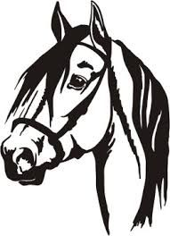191x264 Stylized Horse Head Decal. Approx 6 Tall. Available In Black