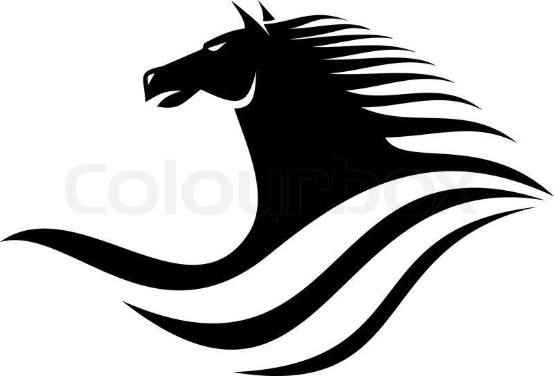 800x544 Black Horse Head Silhouette Stock Vector
