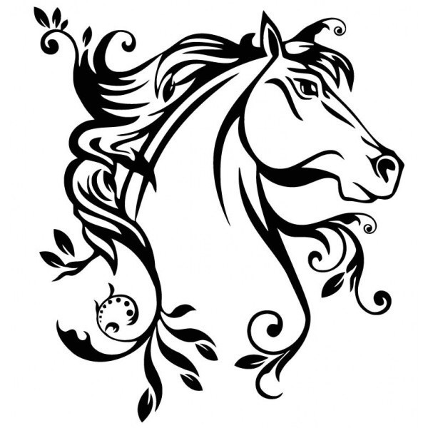 600x600 Collection Of Outline Horse Head Tattoo Design