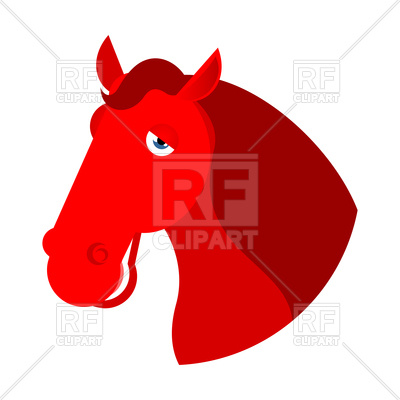 400x400 Red Horse Head On White Background Royalty Free Vector Clip Art