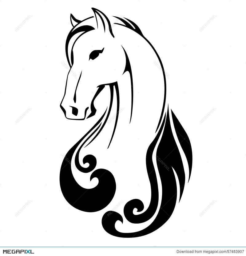 800x830 Vector Silhouette Of A Horse Head Illustration 57483907