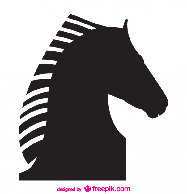 605x626 Black Horse Head Silhouette Vector Free Download