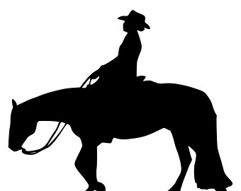 340x270 Set Cowboy Horse Silhouettes Western Riding Stock Vector 361291082
