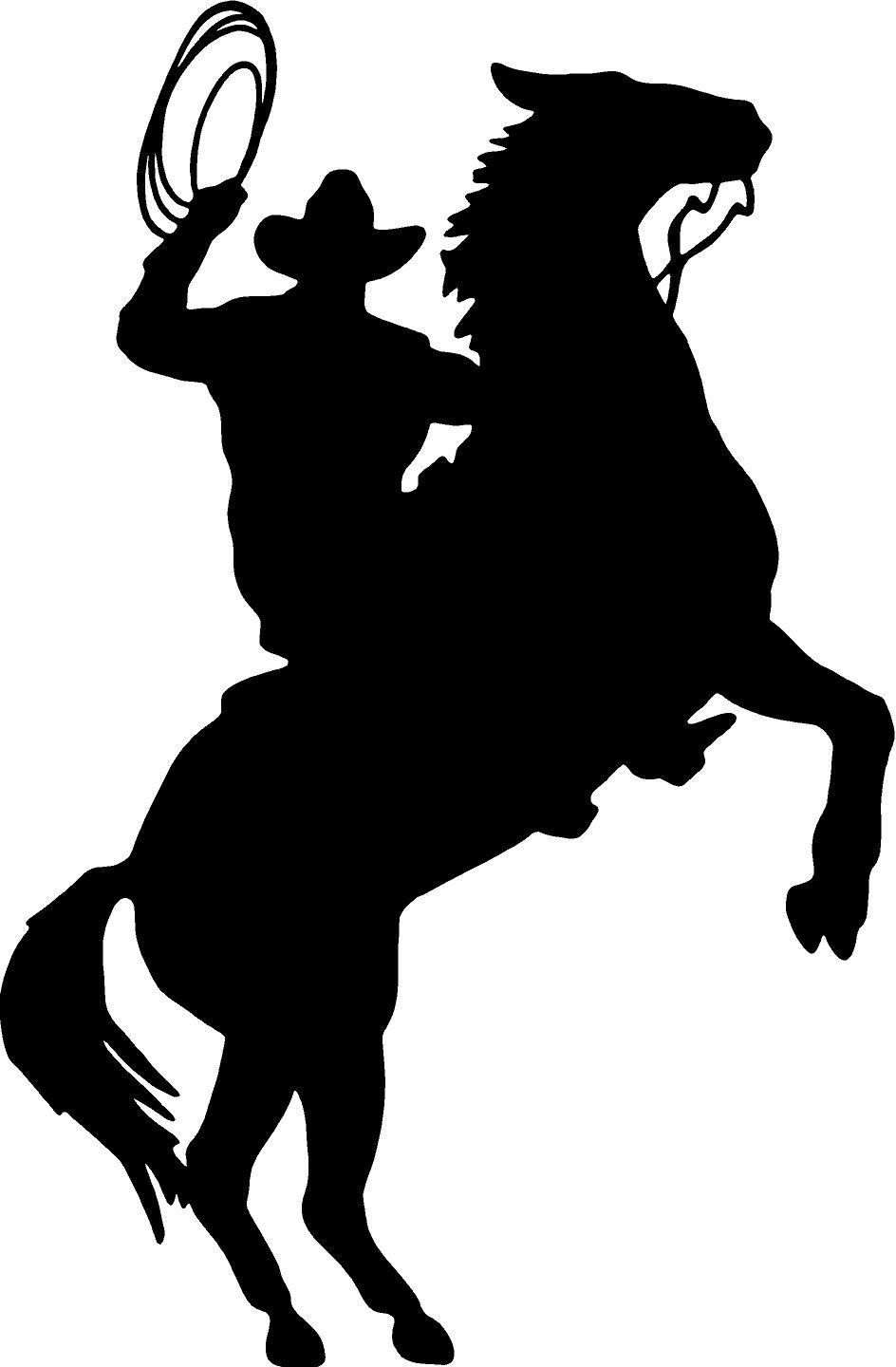 944x1440 Cowboy Horse Rider Western Wall Decal Home Decor Silhouette Large