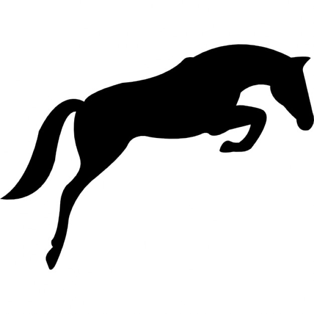 626x626 Black Jumping Horse With Face Looking To The Ground Icons Free