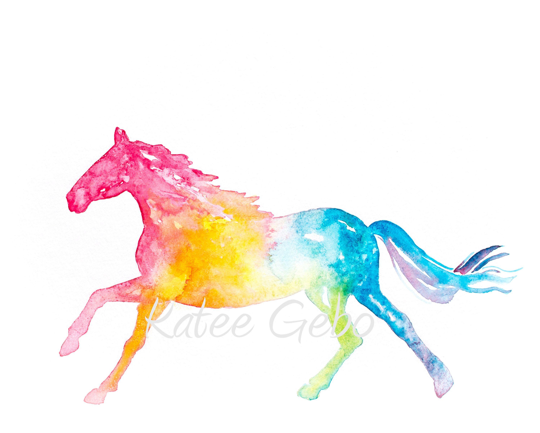 3000x2404 Horse Wall Art Silhouette Rainbow Colors Printable Digital