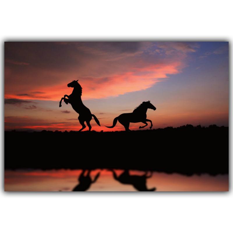 800x800 Animals Horses Prairie Sunset Silk Painting Poster 4 Size Modern