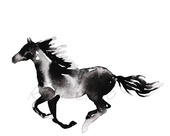 570x456 Horse Painting Abstract Horse Printable Digital Download