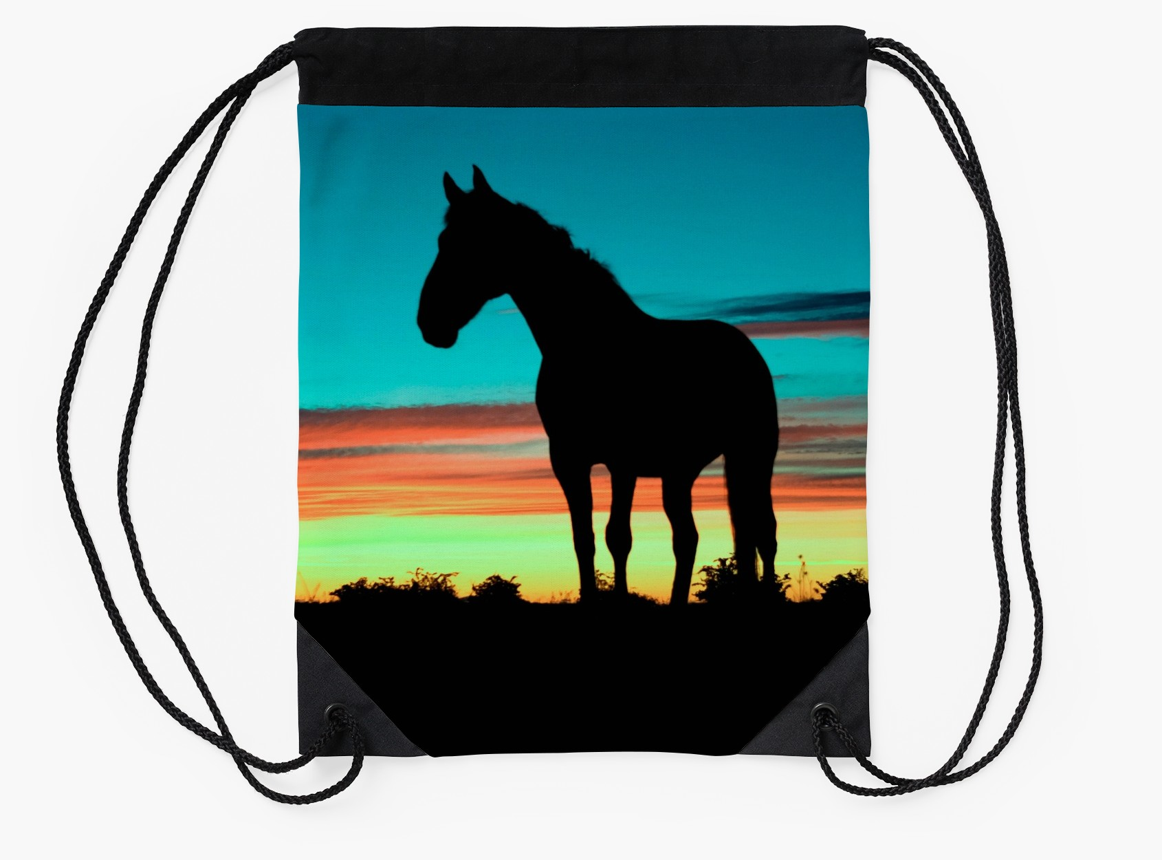 1690x1250 Humpy Horse Silhouette Sunset Psychedelic Drawstring Bags By