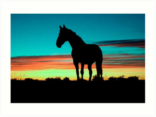 549x413 Humpy Horse Silhouette Sunset Psychedelic Art Prints By