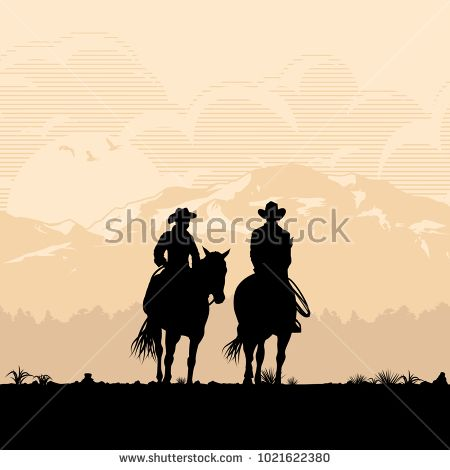 450x470 Silhouette Of Cowboy Couple Riding Horses