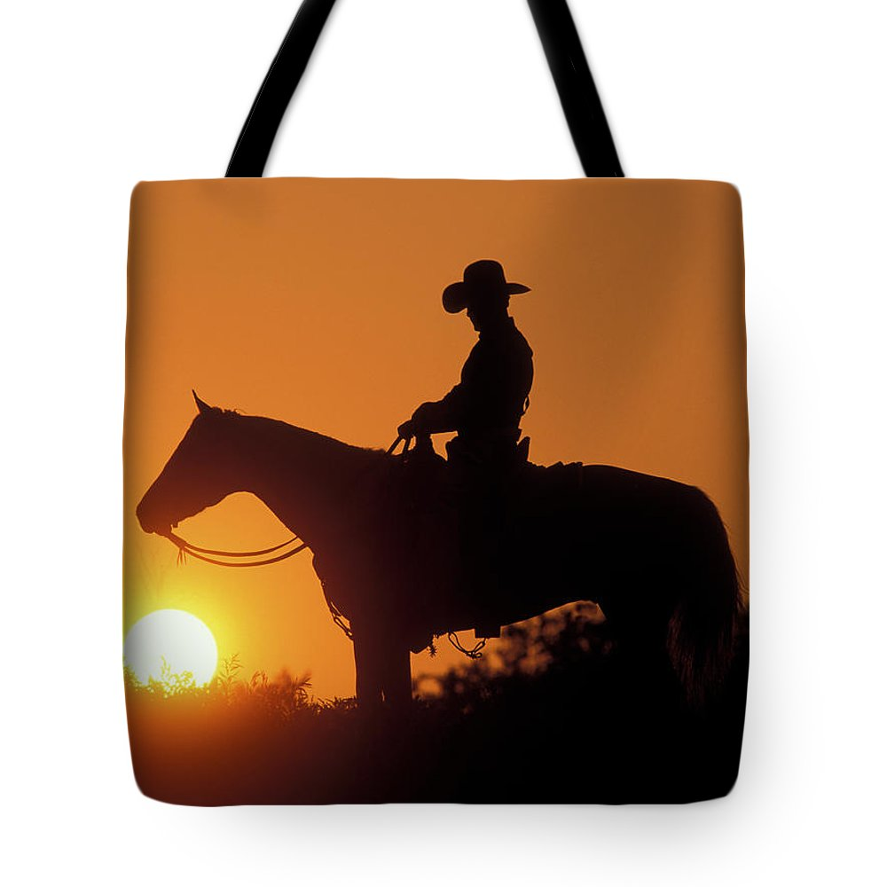 1000x1000 Cowboy Sunset Silhouette Tote Bag For Sale By Shawn Hamilton