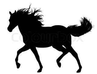 320x244 Silhouette Of A Horse Jump Young Stallion Running Vector