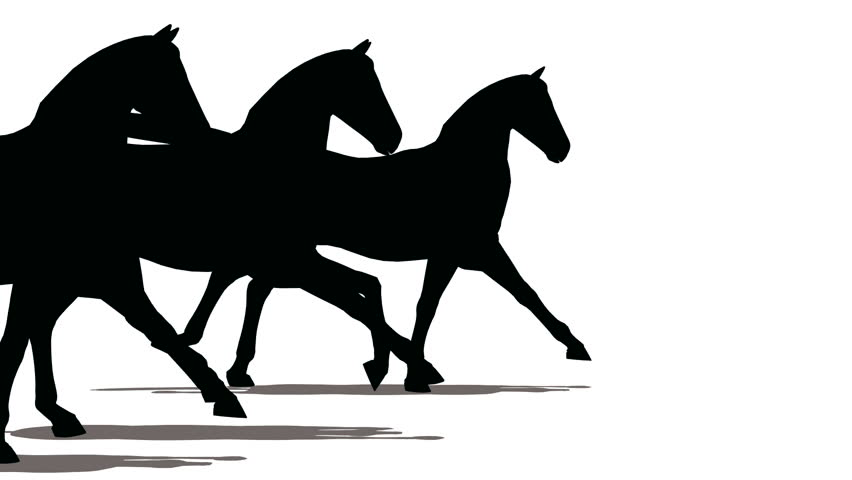 852x480 Running Horse Silhouette ( Seamless Loop ) Stock Footage Video