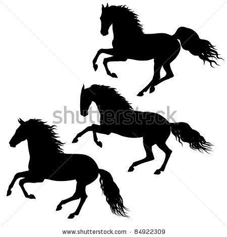 450x470 Three Black Running Horses Silhouettes Isolated On White
