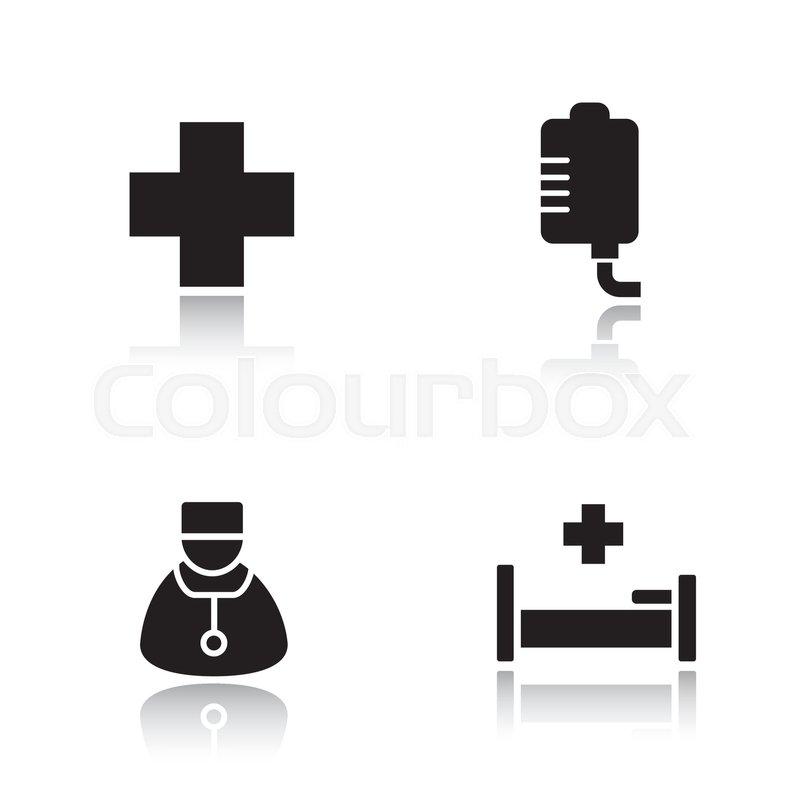 800x800 Hospital Drop Shadow Icons Set. Medical Center Cross Symbol