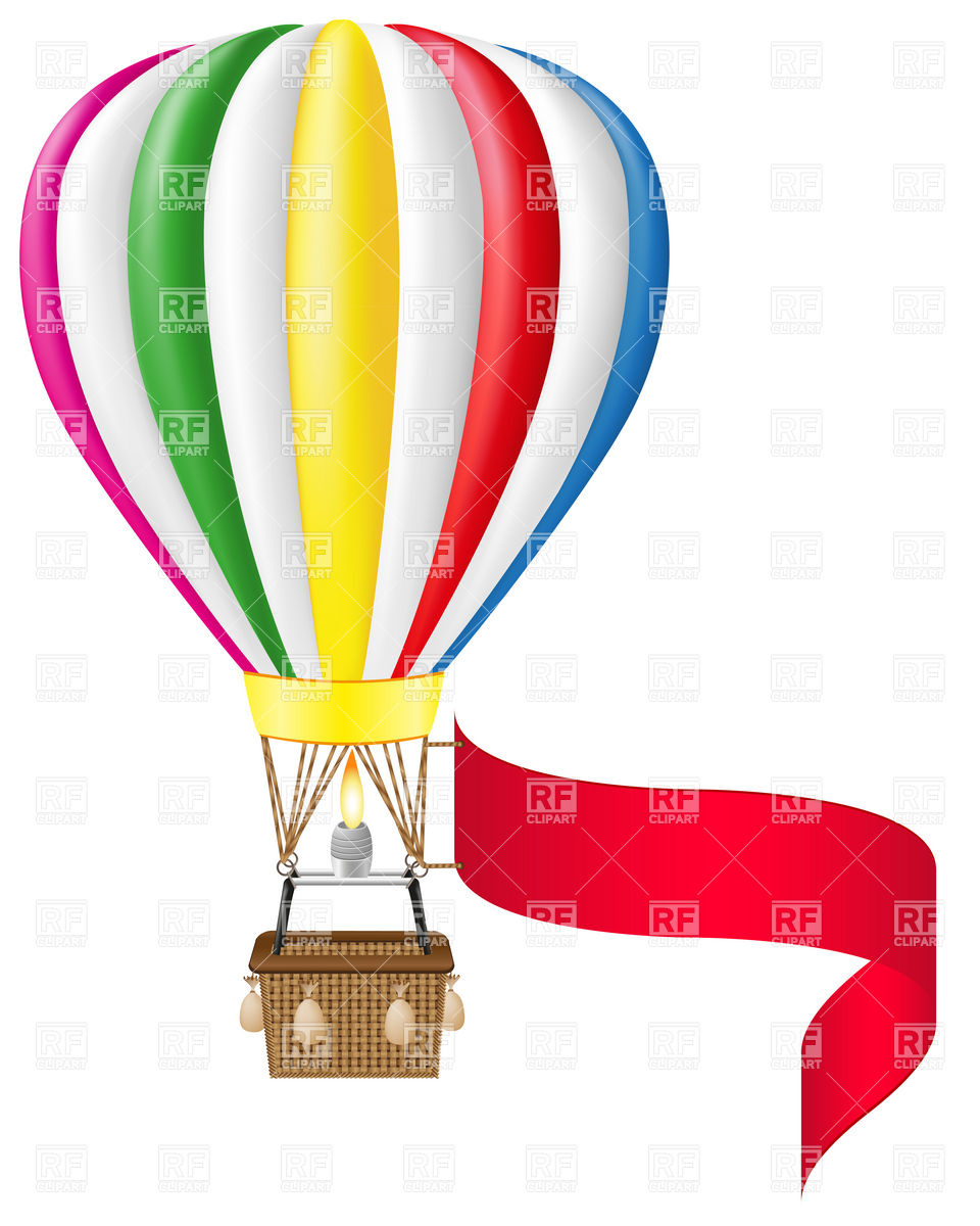 960x1200 Hot Air Balloon And Blank Banner Royalty Free Vector Clip Art