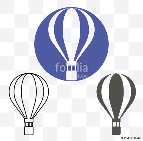 500x494 Hot Air Balloon Icon, Modern Minimal Flat Design Style Symbol