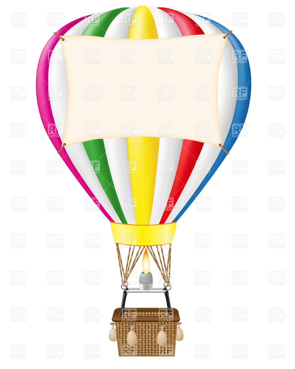 960x1200 Hot Air Balloon With Blank Banner Royalty Free Vector Clip Art
