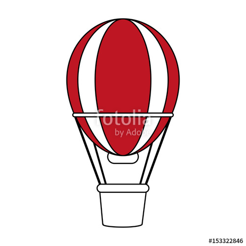 500x500 Color Silhouette Image Red Striped Hot Air Balloon With Basket