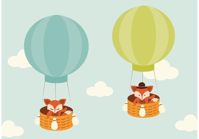 700x490 Free Vector Fox Flying In Hot Air Balloon