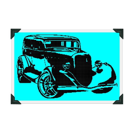 570x570 Retro Hot Rod Silhouette Cross Stitch Pattern Car Cross