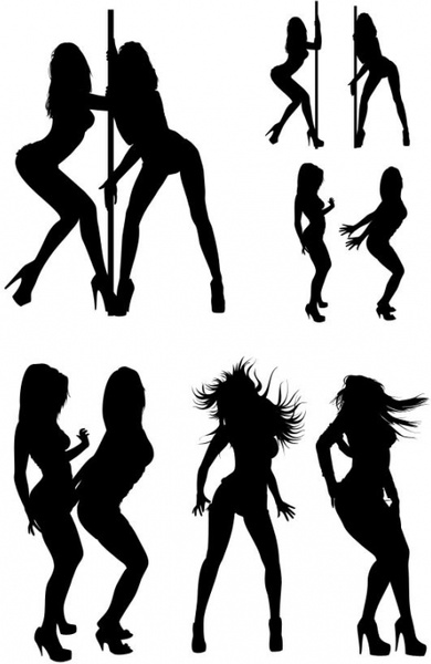 390x600 The Hot Beauties Silhouette Psd Layered Free Psd In Photoshop Psd