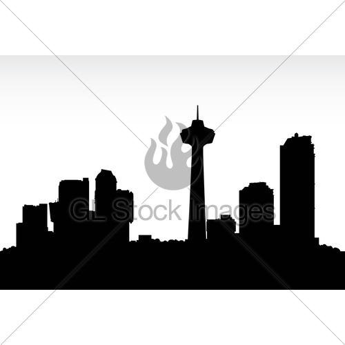 500x500 Niagara Falls Skyline Silhouette Gl Stock Images