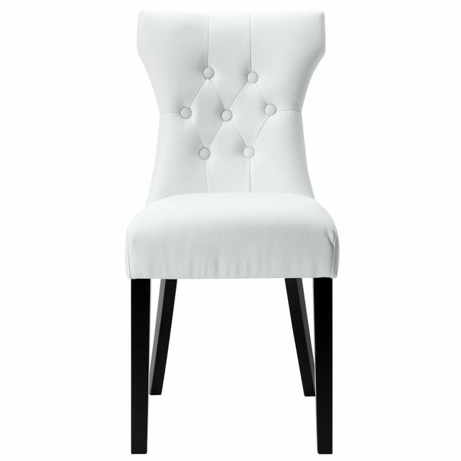 645x645 Modern Hourglass Shaped Vinyl Side Chair, White
