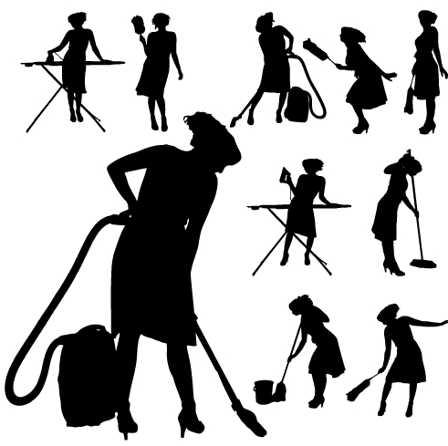 491x489 Creative Cleaning Woman Silhouette Design Vector 03