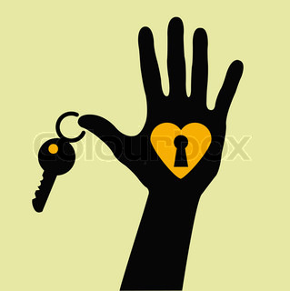 319x320 Hands House Key And Keyhole. Stock Vector Colourbox