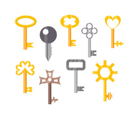 279x240 Vintage Key Door Key Isolated On White Background. Household