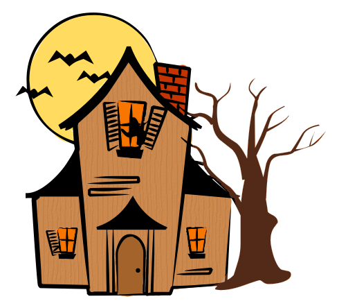 490x444 Haunted House Silhouettes Clipart