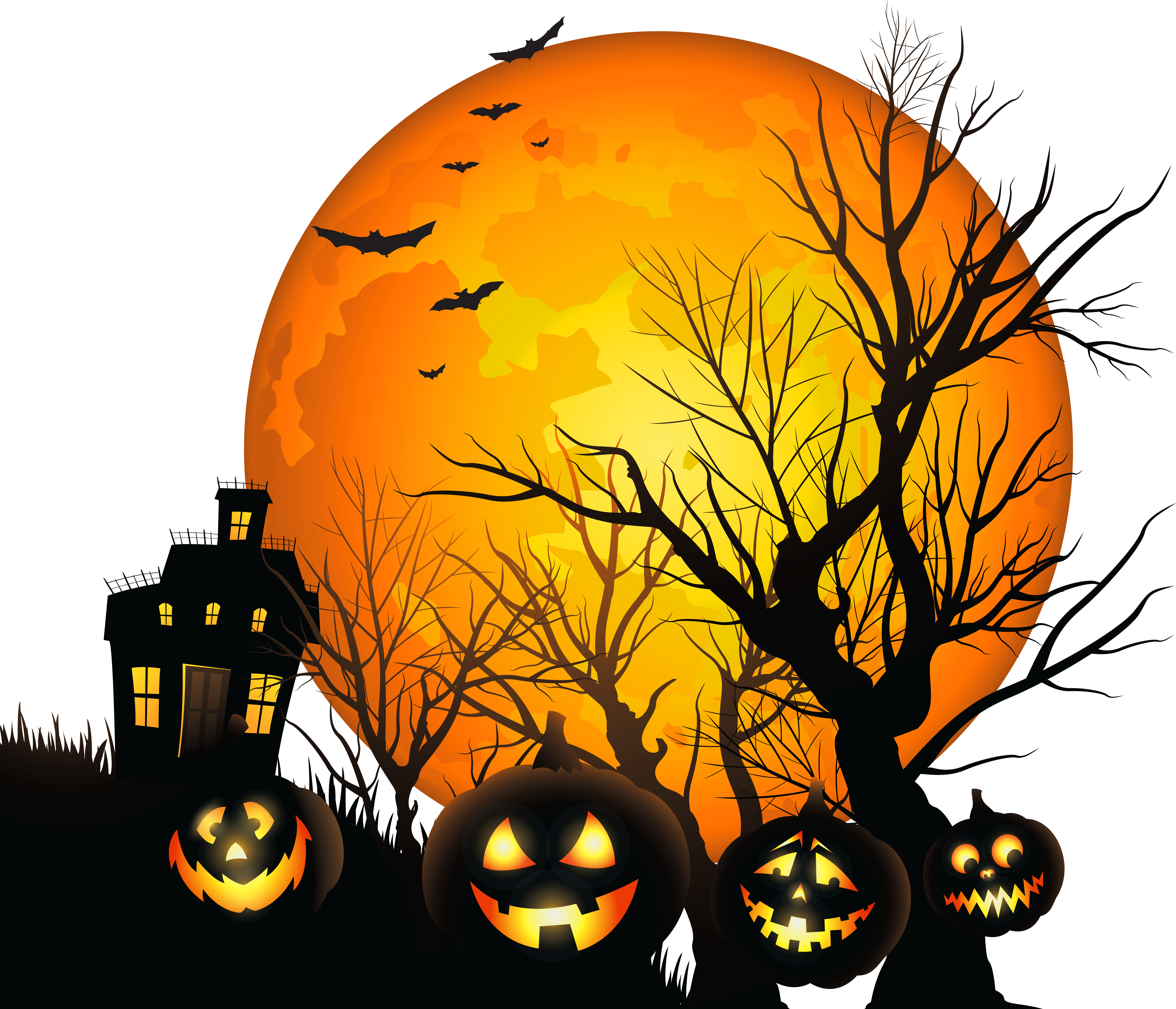 6400x5489 Haunted House Silhouette Clipart Clear Background Collection