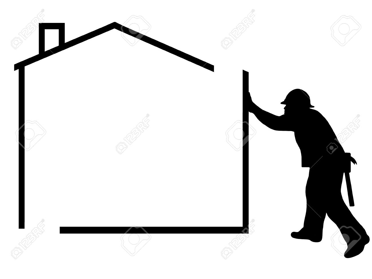 1300x975 Construction Clipart Black And White 3