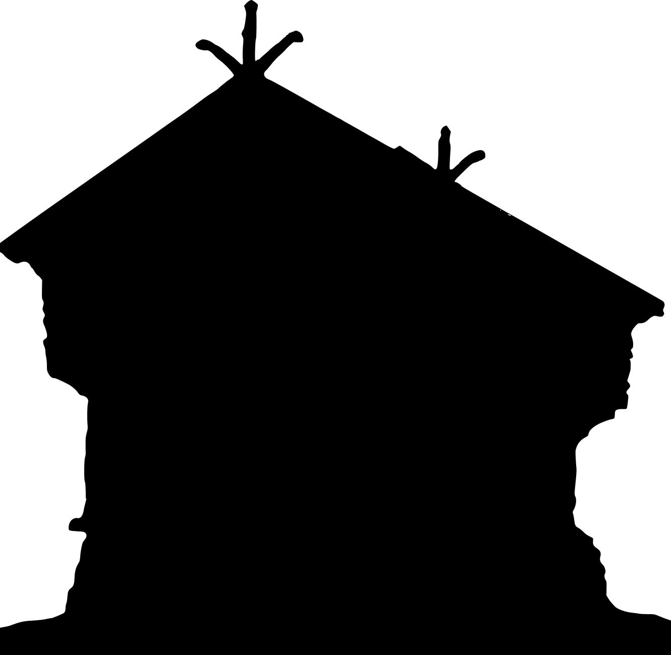 1330x1299 Top House Silhouette Grey Clipart Drawing
