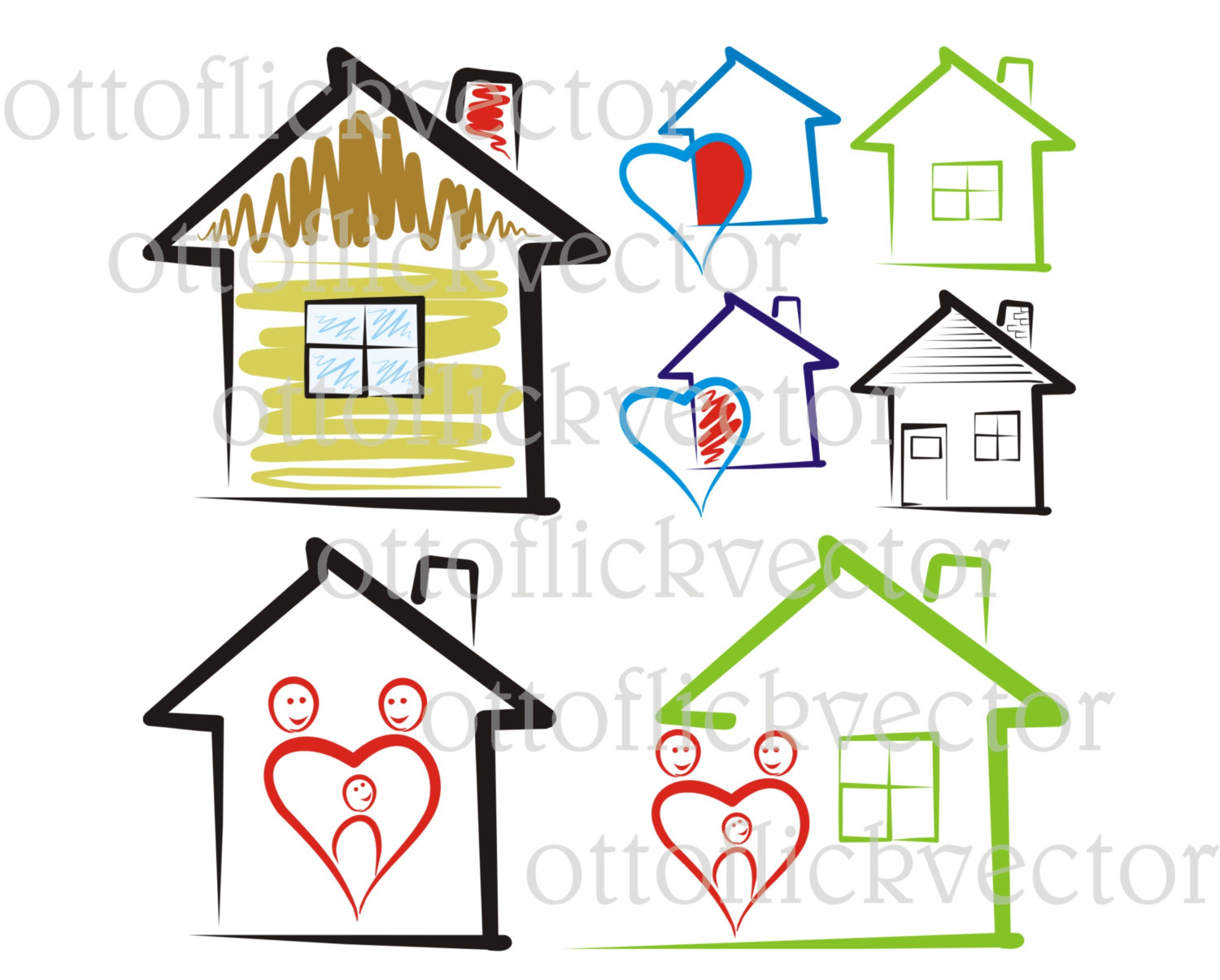 1500x1205 Sweet Home Vector Clipart, House Silhouettes Icon Eps, Ai, Cdr