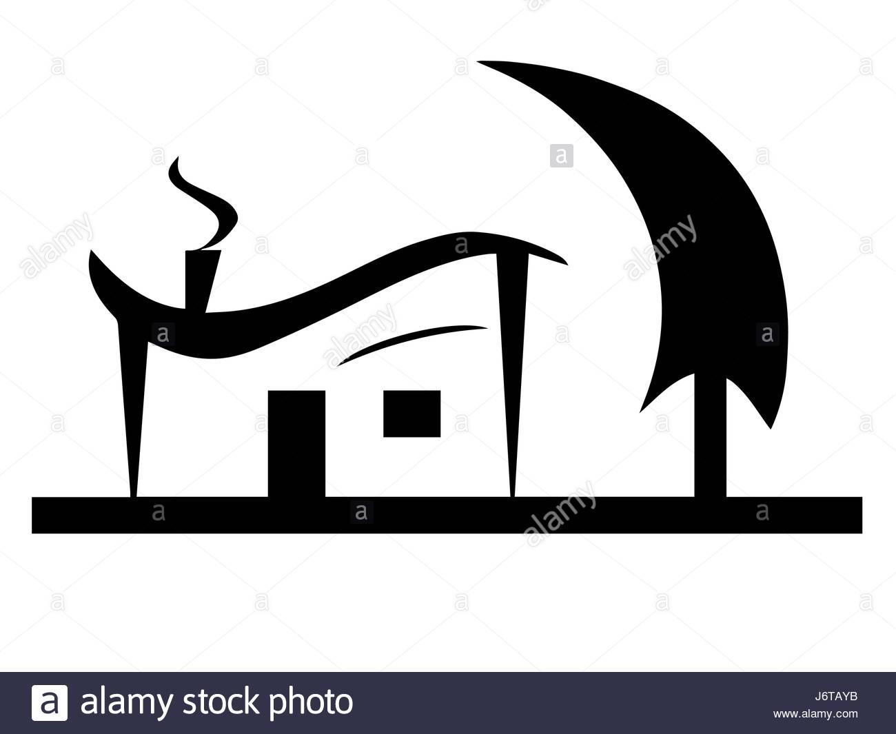 1300x1065 Black House Silhouette Vector With Tree Garden Stock Vector Art
