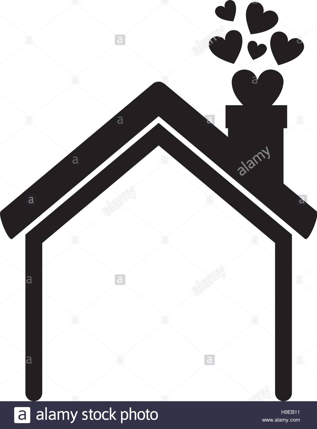 1027x1390 Black Silhouette House With Chimney And Hearts Vector Illustration