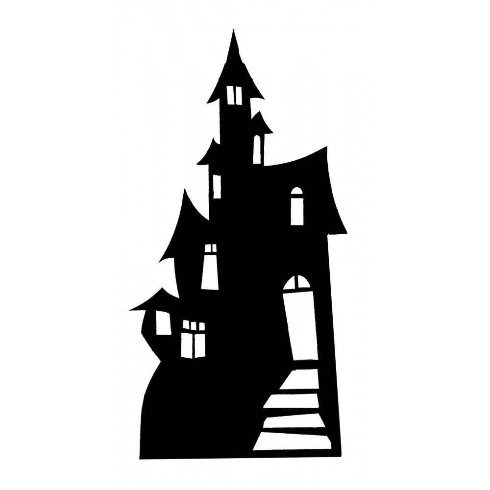 1000x1000 Template Haunted House Silhouette Pumpkin Carving Pattern Showy