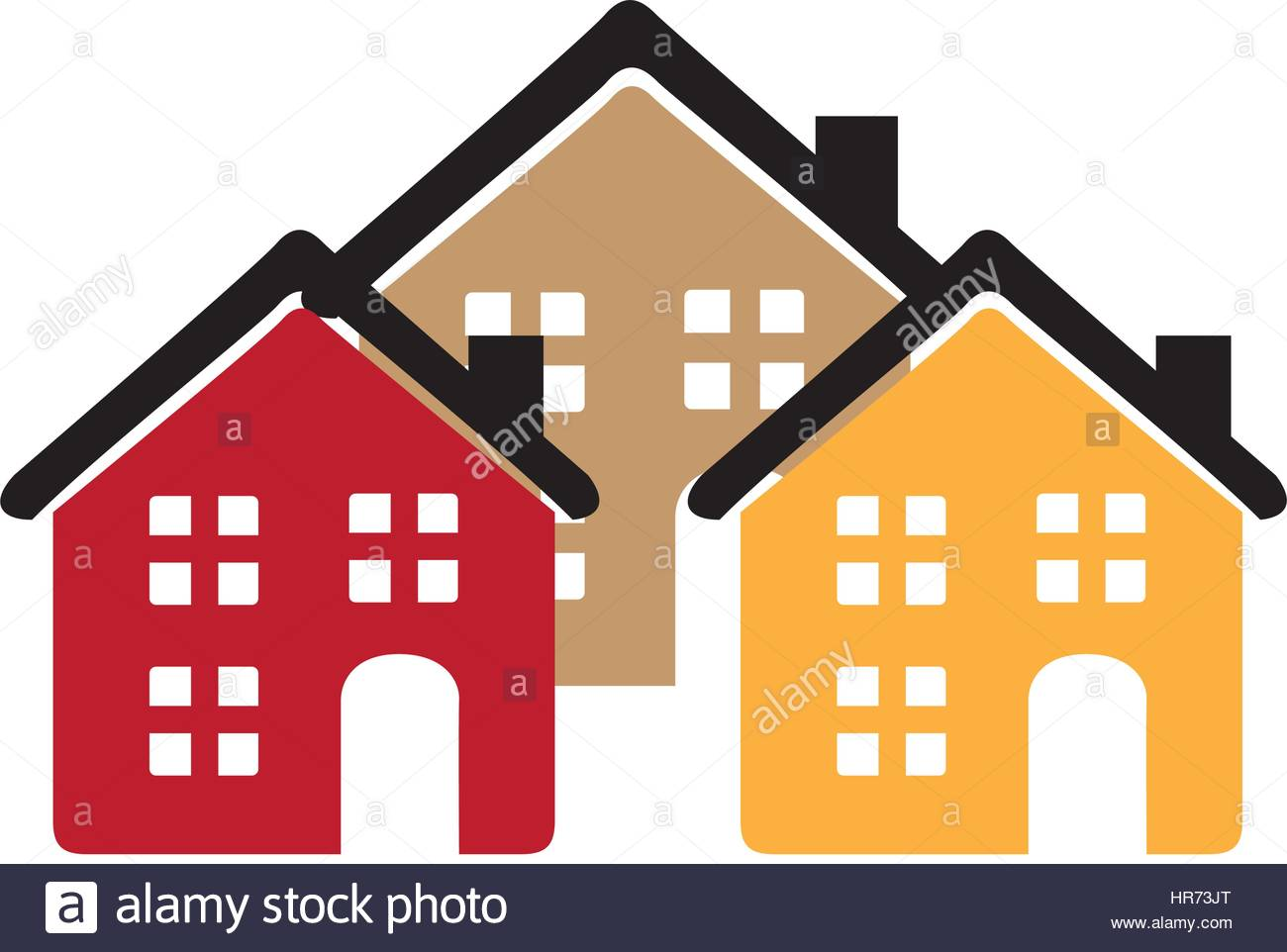 1300x962 Color Silhouette With Group Of Houses Stock Vector Art