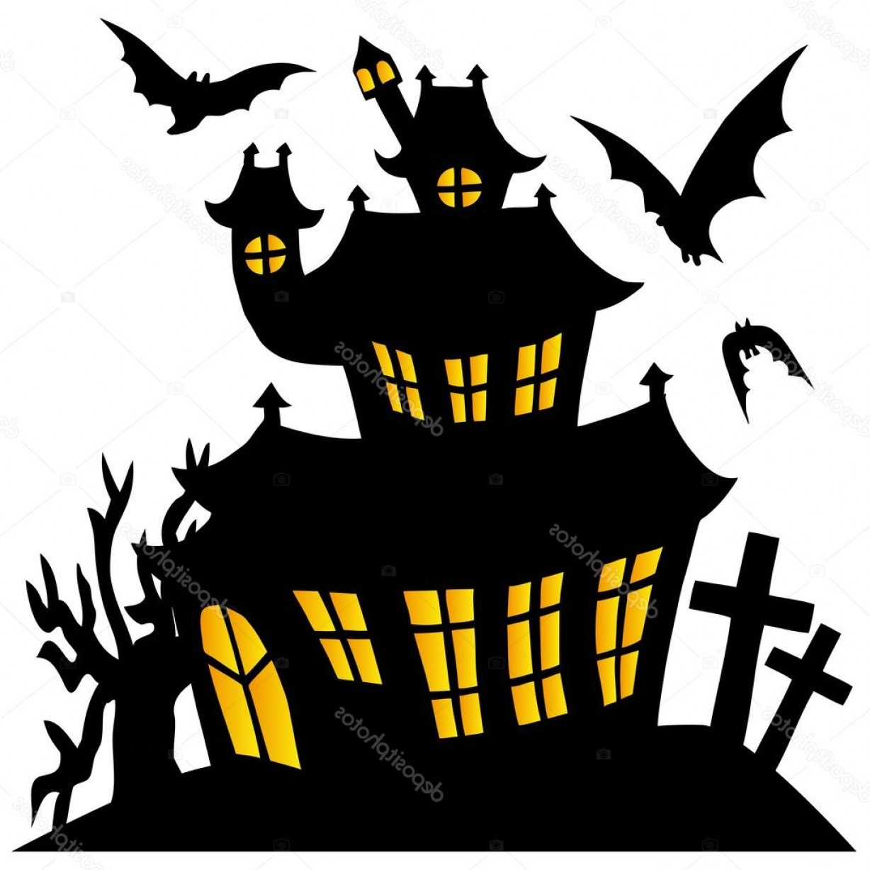 1228x1227 Halloween Haunted House Silhouette Vector Createmepink